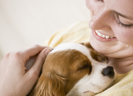 cuddles: Young woman holding puppy. Horizontally framed shot. Stock Photo