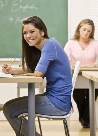 Student studying in classroom photo