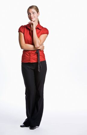 skeptical: Businesswoman looking skeptical Stock Photo