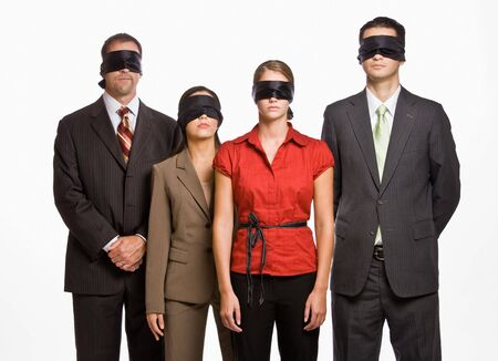 sightless: Business people in blindfolds