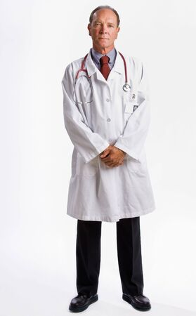 Doctor in lab coat and stethoscope Banque d'images