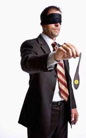 donkey tail: Hombre de negocios en vendados con cola de burro