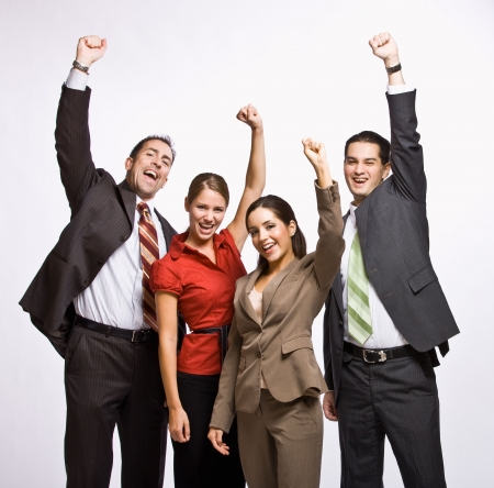 Business people cheering
