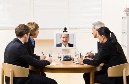 ビデオ会議のビジネス人 写真素材