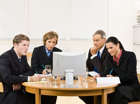 Business people in video meeting photo
