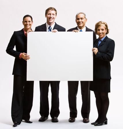 old people: Business people holding blank paper