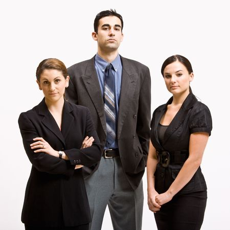 three persons: Serious business people