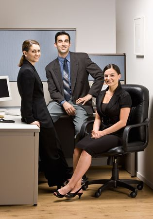 Co-workers sitting in office cubicle