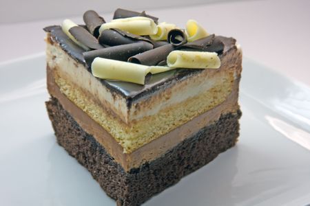indulgent: Chocolate Vanilla Four Layer Mousse Cake
