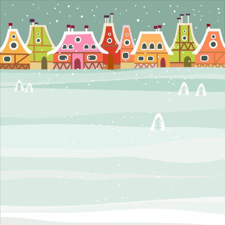 roof line: Fondo de invierno con linda ciudad