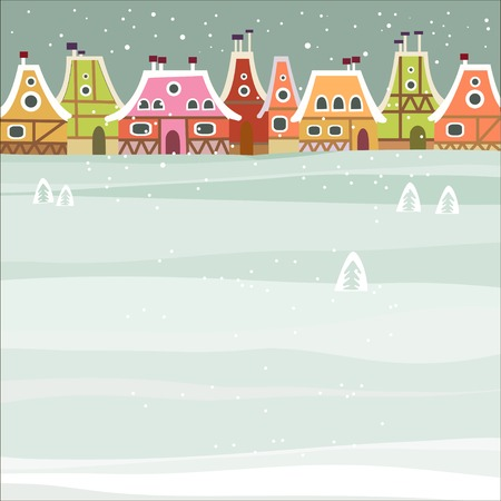 winter scene: Winter background with cute city Illustration