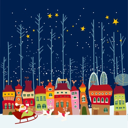 Winter background with cute city Vector