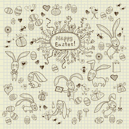 Doodle decorative eggs and elements for Easter Vector