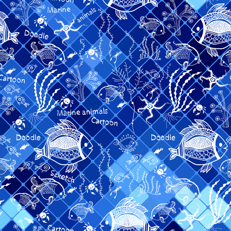 Pattern with fish on the mosaic background  Vector