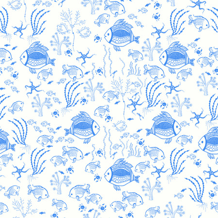 Pattern with fish on the white background  Vector
