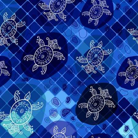 Marine pattern in abstract style  Vector