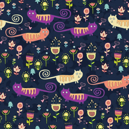 Autumn forest zoo seamless pattern Vector