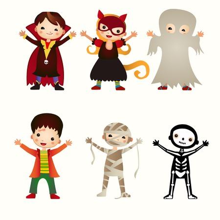 An illustration of kids in halloween costumes Illustration