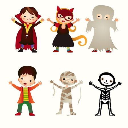 brujas caricatura: Una ilustraci�n de los ni�os en disfraces de halloween Vectores