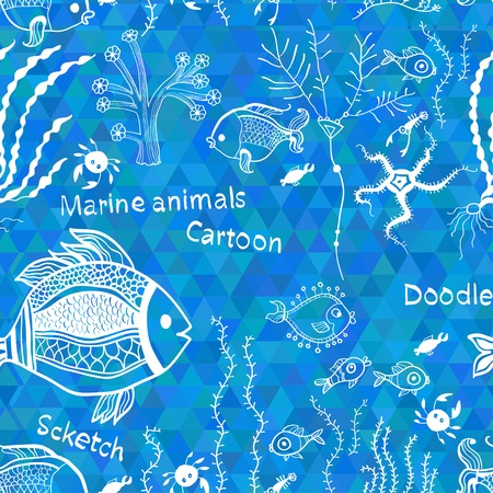 Pattern with fish on the mosaic background.  イラスト・ベクター素材
