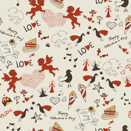 lovely seamless texture with hearts and angels