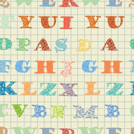 playschool: seamless pattern with alphabets.