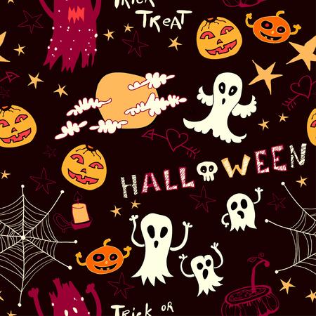 Halloween cartoon bright seamless Background Vector