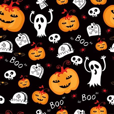 Halloween cartoon bright seamless Background