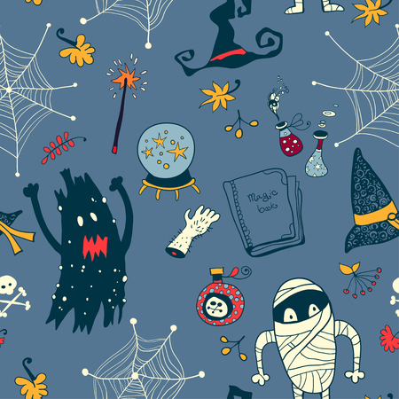 Halloween cartoon bright seamless Background Vector