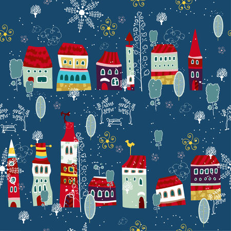 seamless with little town in winter Vector