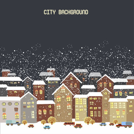 illustration with winter city, falling snowflakes Vector