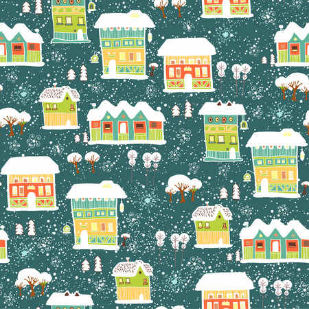 little town: seamless with little town in winter Illustration