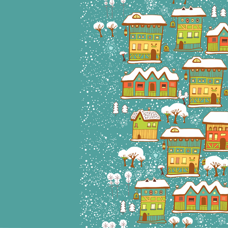little town: Background with little town in winter