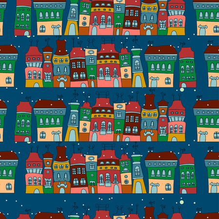 Background with little town in winter Vector