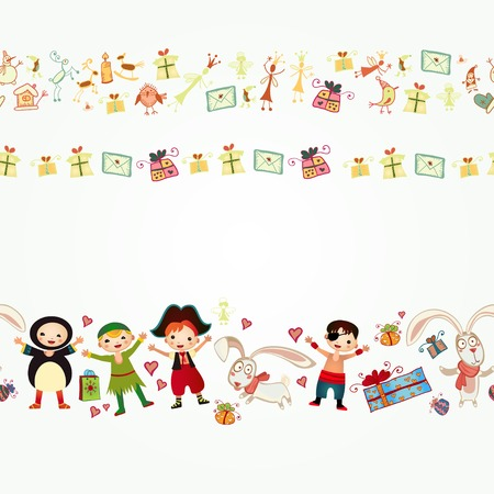 Background with happy kids playing Vector