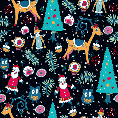 Christmas seamless pattern with xmas toys Vector