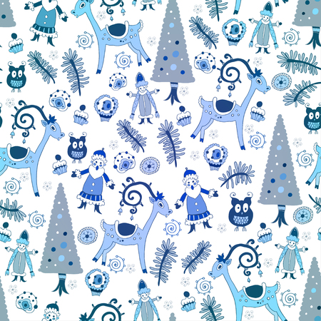 snow maiden: the bright winter seamless pattern