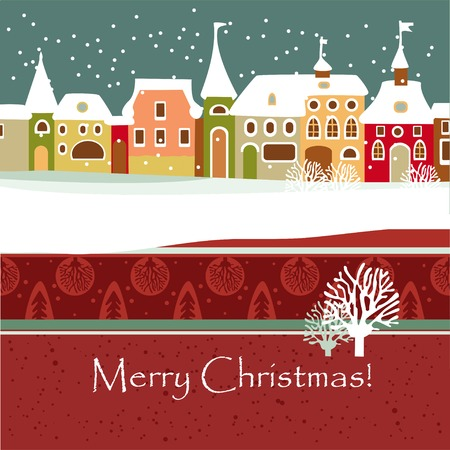 Christmas card with cute little town in winter Vector