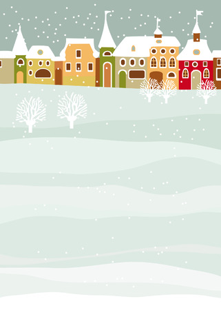 Illustration with houses in the winter