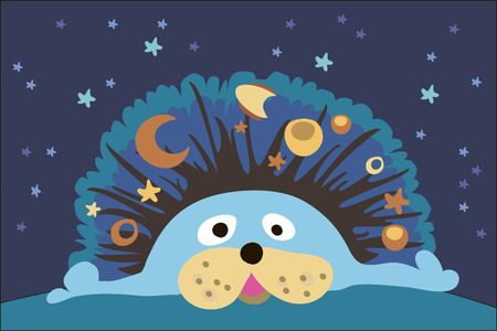 pampered: Illustration with cute hedgehog and stars