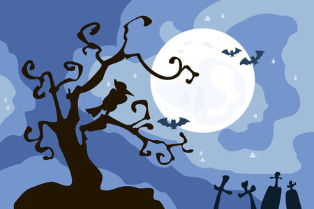 Illustration with tree and Moon for Halloween