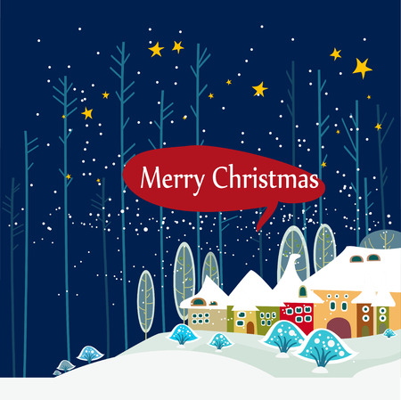 Christmas card with cute little town. seamless  イラスト・ベクター素材