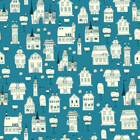Seamless pattern of houses, lanterns and trees. Vector