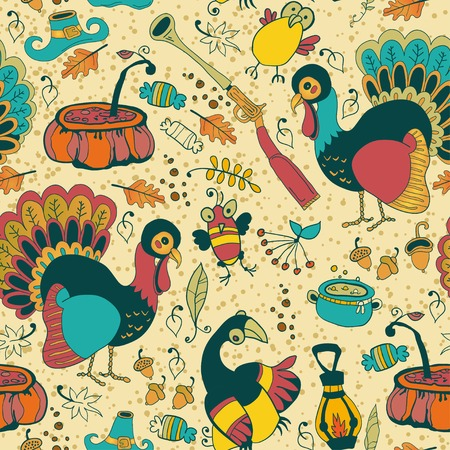 Seamless texture with the Thanksgiving Day icons Vector