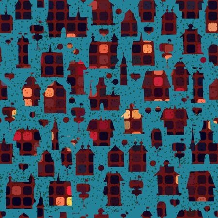 breech: Seamless pattern with houses in the night Illustration