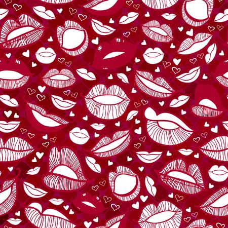 hot lips: Seamless con caliente amor ilustraci�n labios