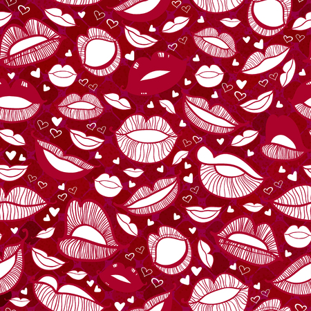 hot boy: Seamless with hot love lips illustration Illustration