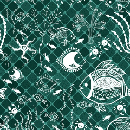 oceanside: Fish pattern in abstract style