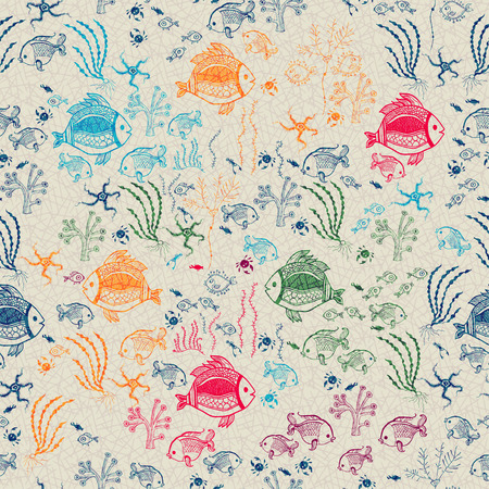 Bright Sea life in cartoon seamless pattern Vector