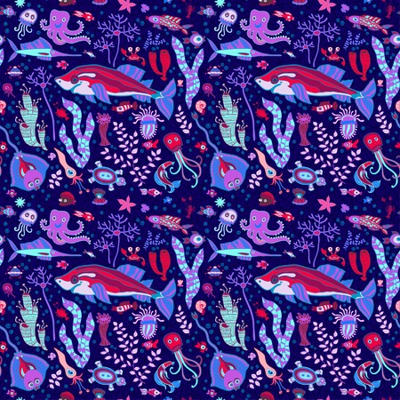 Seamless background with fish, shellfish, seaweed and shells Vector